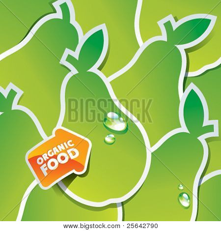 Background from green pears with an arrow by organic food. Vector illustration.