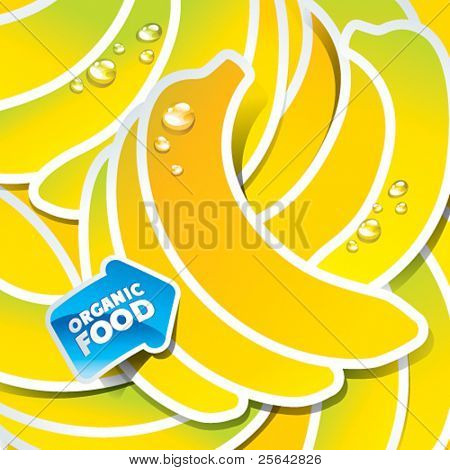 Background from bananas with an arrow by organic food. Vector illustration.