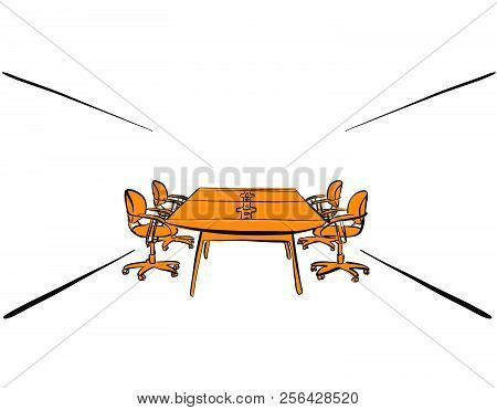 Office Desk Meeting Design. Hand-drawn Vector Sketch. Business Concept Draft.