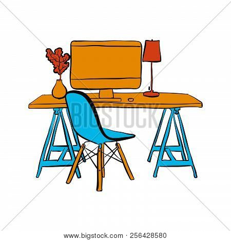 Workplace With Computer And Chair. Hand-drawn Vector Sketch. Business Concept Design.