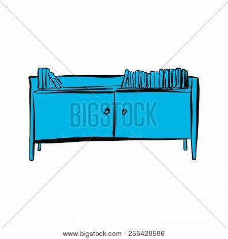 Office Cupboard With Books. Hand-drawn Vector Sketch. Business Concept Design.