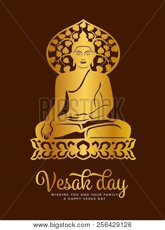 Vesak Day Banner With  Gold Paper Cut Buddha Meditate On Lotus And Bodhi Tree Around Haed Sign Vecto