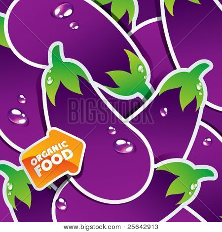 Background from eggplants with an arrow by organic food. Vector illustration.