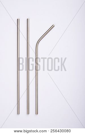 Reusable Stainless Steel Straws, Isolated On White