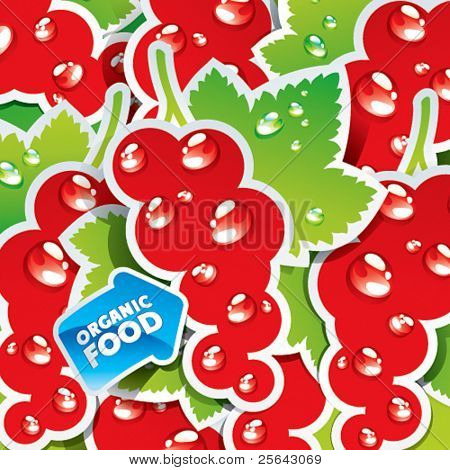 Background from currant with the arrow by organic food. Vector illustration.