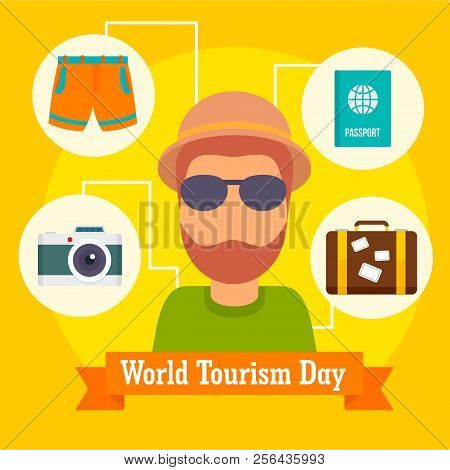 World Tourism Day Icon Background. Flat Illustration Of World Tourism Day Icon Vector Background For