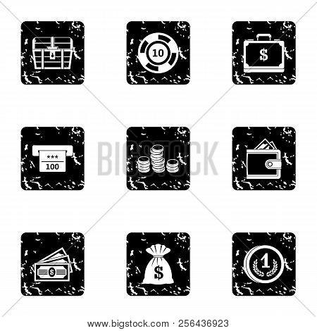 Monetary Resource Icons Set. Grunge Illustration Of 9 Monetary Resource Icons For Web