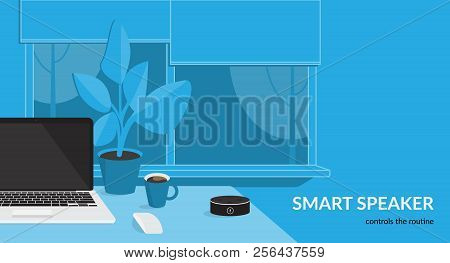 Smart Speaker Controls The Routine. Flat Vector Illustration For Mockup Design Of Black Home Smart S