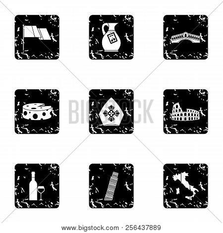 Tourism In Italy Icons Set. Grunge Illustration Of 9 Tourism In Italy Icons For Web