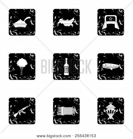 Tourism In Russia Icons Set. Grunge Illustration Of 9 Tourism In Russia Icons For Web