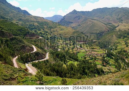 Impressive Aerial View Of Sacred Valley Of The Incas As Seen From Pisac Archaeological Site, Cusco R