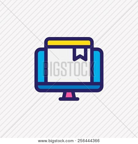 Illustration Of Online Bookmark Icon Colored Line. Beautiful Education Element Also Can Be Used As E