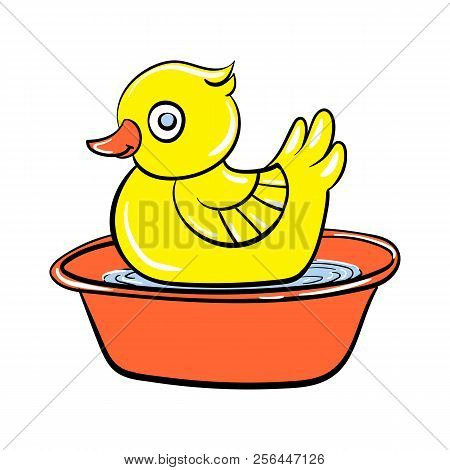 Yellow Duck Toy Icon. Cartoon Of Yellow Duck Toy Vector Icon For Web Design Isolated On White Backgr