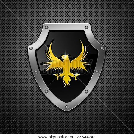 Shield on a metallic background.