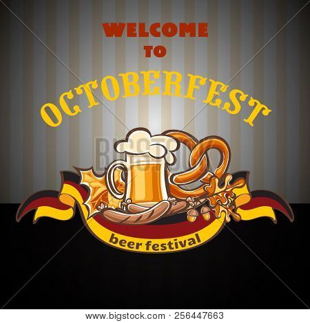 Welcome To Octoberfest Concept Background. Cartoon Illustration Of Welcome To Octoberfest Vector Con