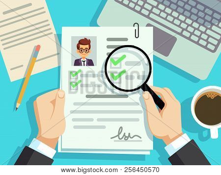 Job Interview Concept. Businessman Cv Resume, Work Evaluation Vector Background. Cv Candidate, Job R