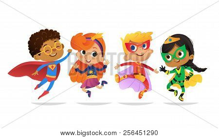 Multiracial Boys And Girls, Wearing Colorful Costumes Of Superheroes, Happy Jump. Cartoon Vector Cha