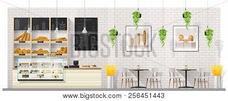 Interior Scene Of Modern Bakery Shop With Display Counter , Tables And Chairs , Vector , Illustratio