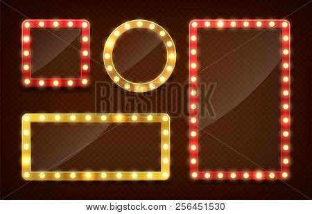 Makeup Mirror. Circle And Rectangle Mirrors Frame With Light Bulbs And Mirrored Reflection. Isolated