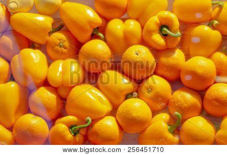 Bright Yellow Paprika Background Pattern Image Concept
