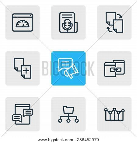 Vector Illustration Of 9 Advertisement Icons Line Style. Editable Set Of File Sharing, Directory Sub