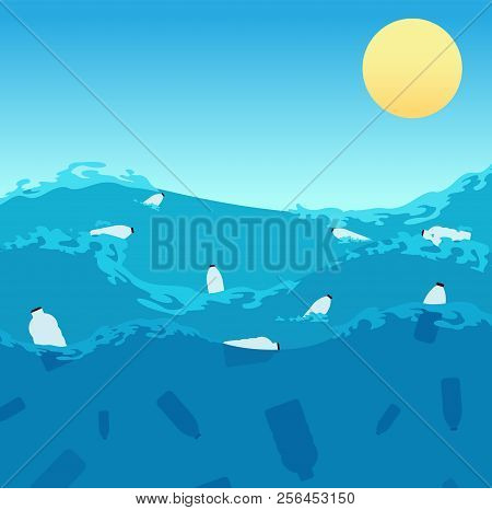 Ocean Plastic Pollution. Polluted Sea Water With Bottles And Dead Fishes. Ecological Enviroment Prob
