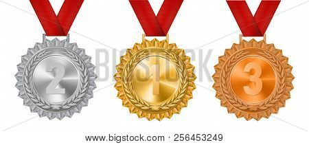 Set Of Gold, Silver And Bronze Medals On A White Background.vector Illustration.