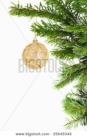 Golden Ball On Christmas Tree