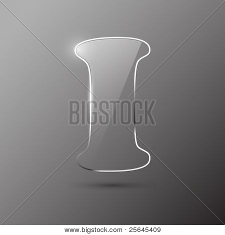 Glass letter I. Vector illustration.