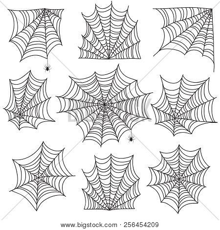 Spiderweb. Spooky Cobweb And Web Corners With Spider. Halloween Vector Icons Isolated On White Backg