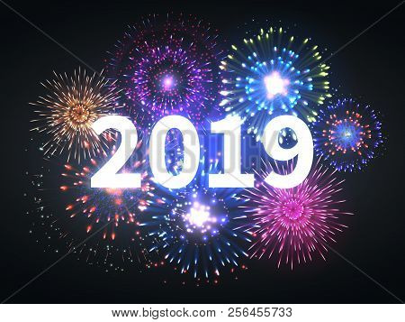 Fireworks Explosion. Happy New Year 2019 Event Banner. Pyrotechnics Sparks. Festive Firework Celebra
