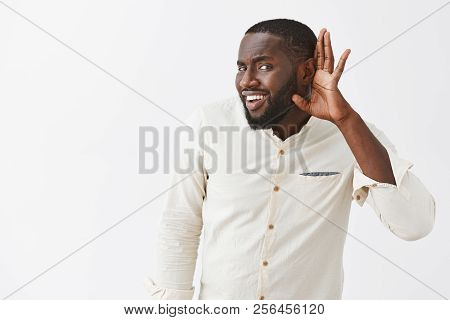 What, Cannot Hear You. Cute African American Boyfriend In White Shirt, Holding Hand Near Ear And Ben