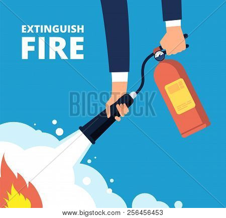 Extinguish Fire. Fireman With Fire Extinguisher. Emergency Training And Protection From Flame Vector