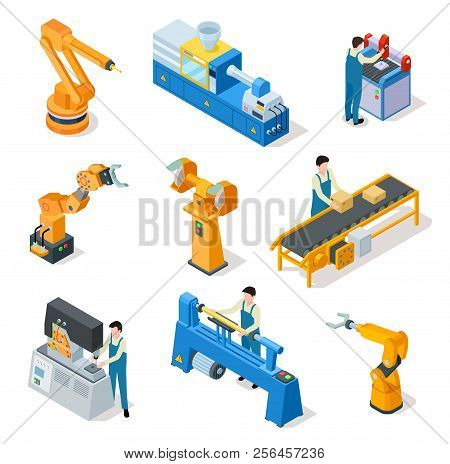 Industrial Robots. Isometric Machines, Assembly Line Elemets And Robotic Arms With Workers. 3d Manuf
