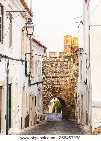 Calcada Da Frandina Street Leading To The Porta Do Sol (sun Door) In The Castle Of Estremoz In Portu