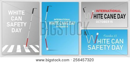 White Cane Safety Banner Set. Realistic Illustration Of White Cane Safety Vector Banner Set For Web