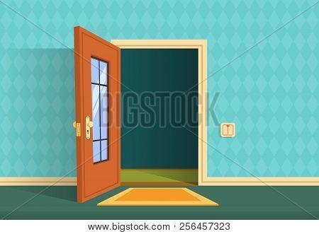 Cartoon Open Door. Apartment Hallway Entrance, Office Lobby. Home Entry Corridor Vector Background.