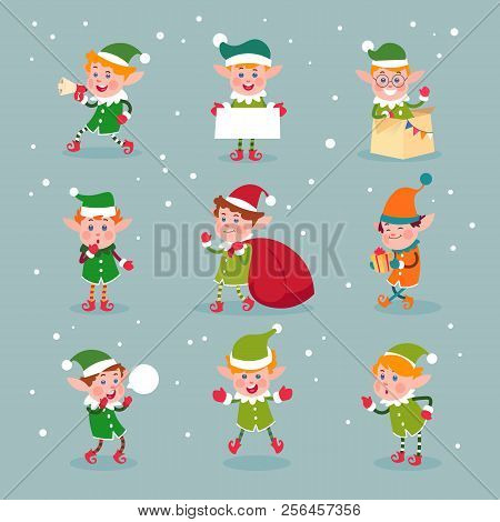 Elf. Cartoon Santa Claus Helpers, Dwarf Christmas Vector Fun Elves Characters Isolated. Elf And Help