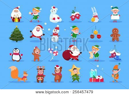 Winter Characters. Cartoon Santa, Elves And Winter Christmas Animals, Snowman And Kids. Winter Chris