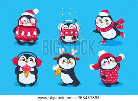 Christmas Penguin. Funny Snow Animals, Cute Baby Penguins Cartoon Characters In Winter Hat. Isolated