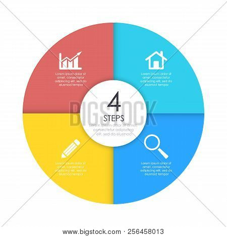 Round Infographic Diagram. Circles Of 4 Elements Or Steps. Vector Eps10