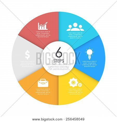 Round Infographic Diagram. Circles Of 6 Elements Or Steps. Vector Eps10