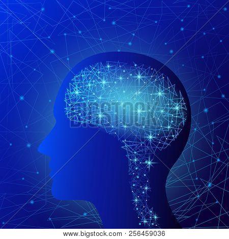 Brain Concept Background. Realistic Illustration Of Brain Vector Concept Background For Web Design