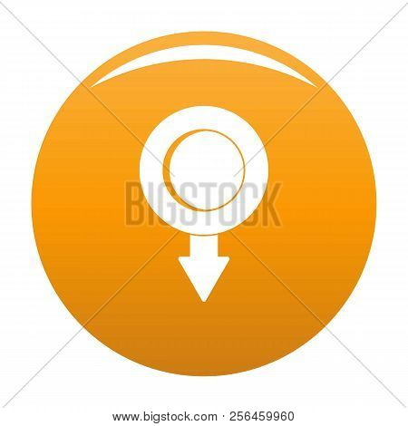 Pushpin Icon. Simple Illustration Of Pushpin Vector Icon For Any Design Orange
