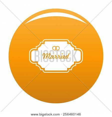 Married Label Icon. Simple Illustration Of Married Label Vector Icon For Any Design Orange