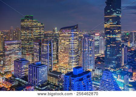 Beautiful Sunset Of The Metropolitan Bangkok City Downtown Cityscape Urban Skyline  Thailand In 2017