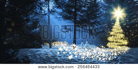 Magic Christmas Scene In The Woods With Two Snowmen And A Glowing Christmas Tree Made Of Stars.