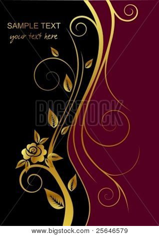 Black and red cover with gold flower and place for text,  raster version also available in my portfolio