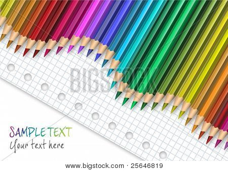 Colored pencil on squared paper, vector illustration