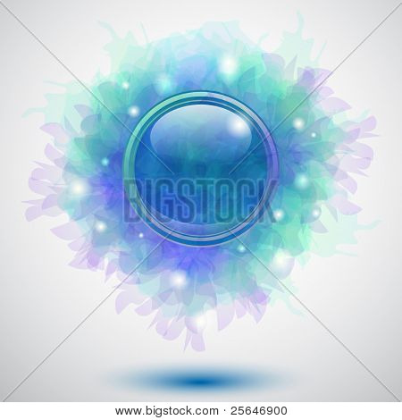 Abstract floral blue glossy button background or cover